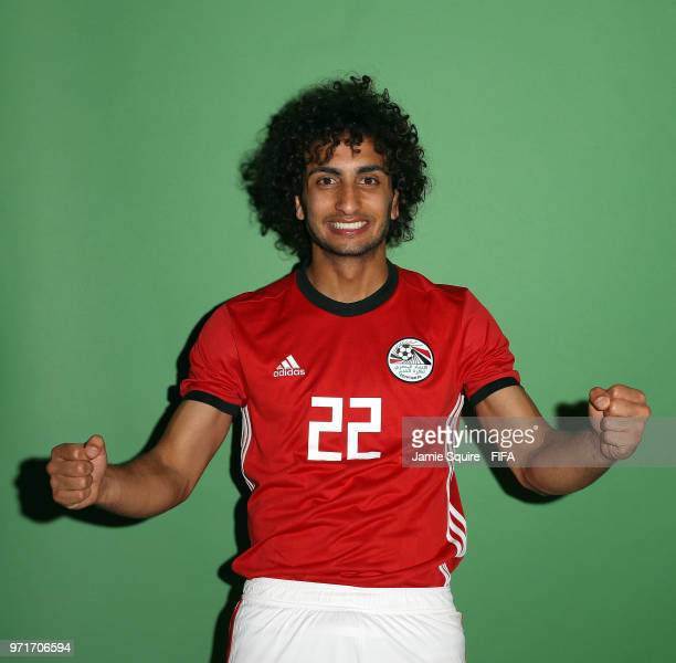 Amr Warda of Egypt poses during the official FIFA World Cup 2018 portrait session at The Local hotel on June 11 2018 in Grozny Russia