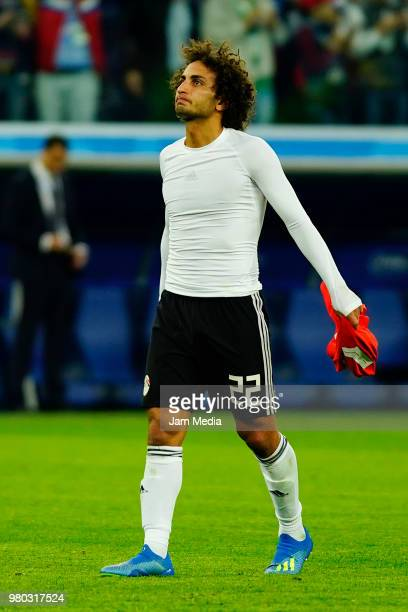 Amr Warda of Egypt reacts after the 2018 FIFA World Cup Russia group A match between Russia and Egypt at Saint Petersburg Stadium on June 19 2018 in...