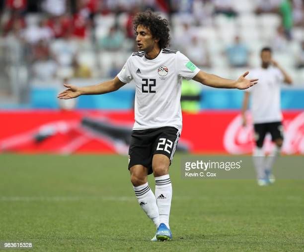 Amr Warda of Egypt reacts during the 2018 FIFA World Cup Russia group A match between Saudia Arabia and Egypt at Volgograd Arena on June 25 2018 in...