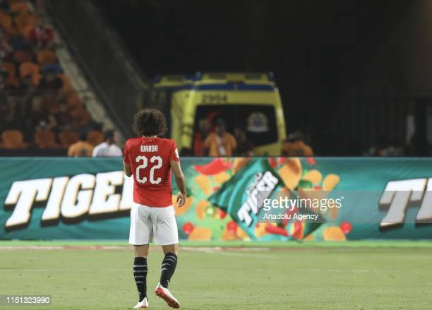 Amr Warda of Egypt reacts during the opening football match of the 2019 Africa Cup of Nations Group A match between Egypt and Zimbabwe at the Cairo...