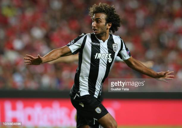 Amr Warda of PAOK celebrates after scoring a goal during the UEFA Champions League Play Off match between SL Benfica and PAOK at Estadio da Luz on...