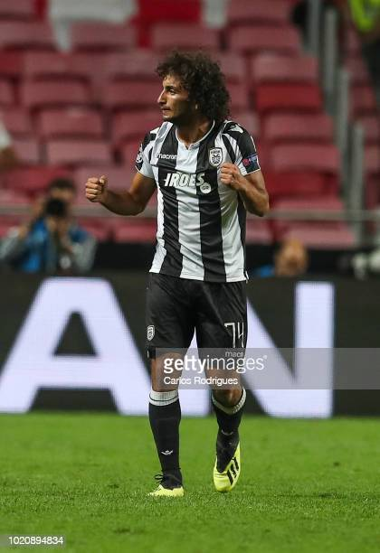 Amr Warda of PAOK celebrates scoring PAOK goal during the match between SL Benfica and PAOK for the UEFA Champions League Play Off at Estadio da Luz...