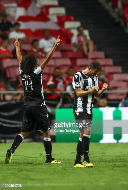 Amr Warda of PAOK celebrates scoring PAOK goal with Jose Canas of PAOK during the match between SL Benfica and PAOK for the UEFA Champions League...