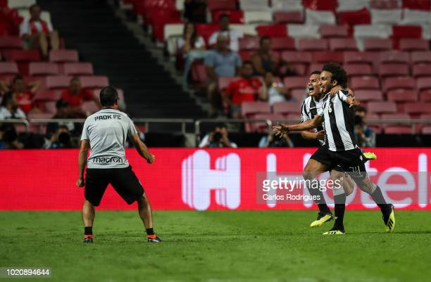 Amr Warda of PAOK celebrates scoring PAOK goal with Leo Jaba of PAOK during the match between SL Benfica and PAOK for the UEFA Champions League Play...