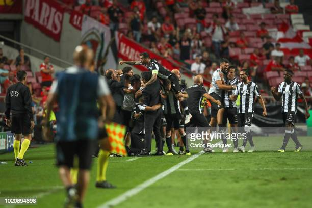 Amr Warda of PAOK celebrates scoring PAOK goal with team mates during the match between SL Benfica and PAOK for the UEFA Champions League Play Off at...