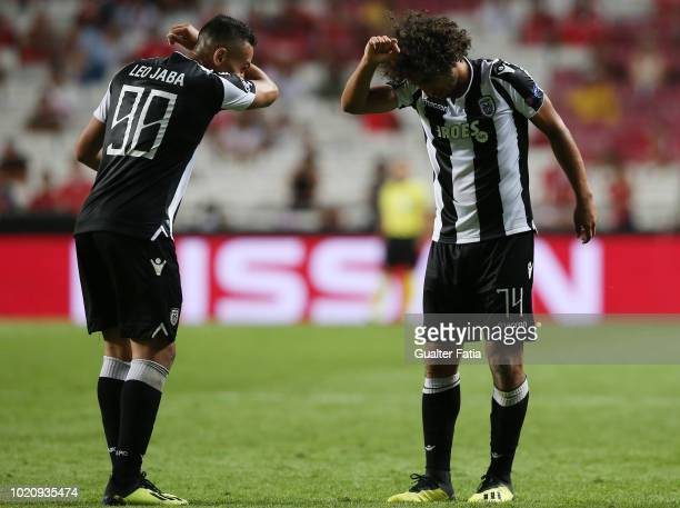 Amr Warda of PAOK celebrates with teammate Leo Jaba of PAOK after scoring a goal during the UEFA Champions League Play Off match between SL Benfica...