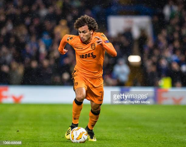 Amr Warda of PAOK control ball during the UEFA Europa League Group L match between Chelsea and PAOK at Stamford Bridge on November 29 2018 in London...