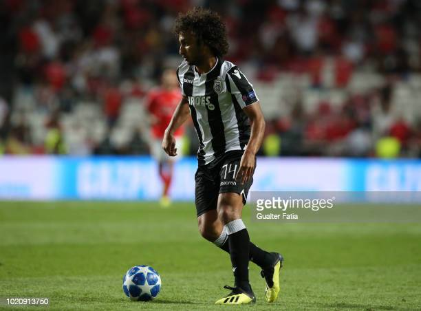 Amr Warda of PAOK controls the ball during the UEFA Champions League Play Off match between SL Benfica and PAOK at Estadio da Luz on August 21 2018...