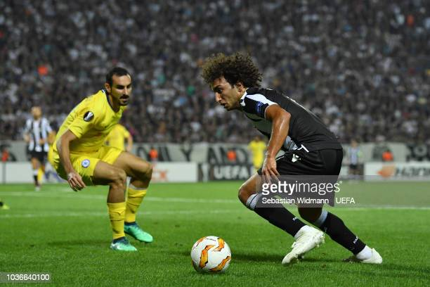Amr Warda  of PAOK plays the ball during the UEFA Europa League Group L match between PAOK and Chelsea at Toumba Stadium on September 20 2018 in...