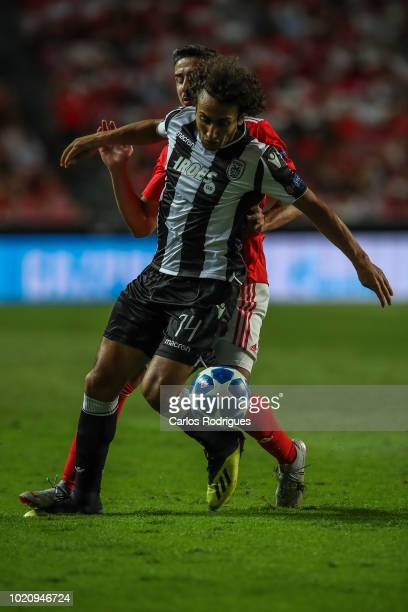 Amr Warda of PAOK vies with Andre Almeida of SL Benfica for the ball possession during the match between SL Benfica and PAOK for the UEFA Champions...