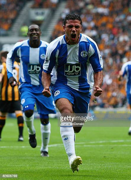 Amr Zaki of Wigan celebrates his goal during the Barclays Premier League match between Hull Ciy and Wigan Athletic at the KC Stadium on August 30,...