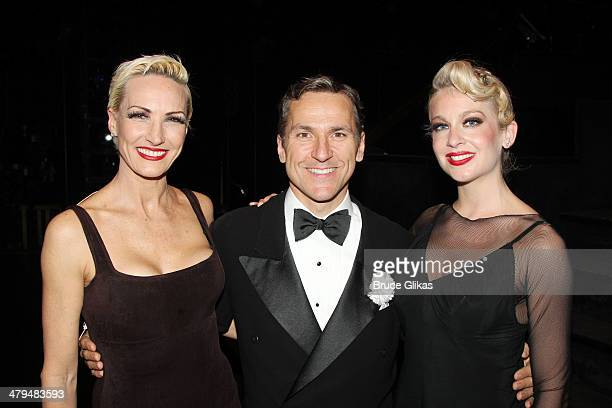 """Amra Faye Wright, Elvis Stojko and Anne Horak pose backstage at """"Chicago"""" on Broadway at The Ambassador Theater on March 18, 2014 in New York City."""