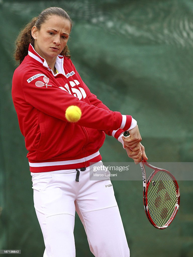 Amra Sadikovic of Switzerland plays a backhand during a training session during day two of the Fed Cup World Group Play-Offs between Switzerland and Australia at Tennis Club Chiasso on April 21, 2013 in Chiasso, Switzerland.