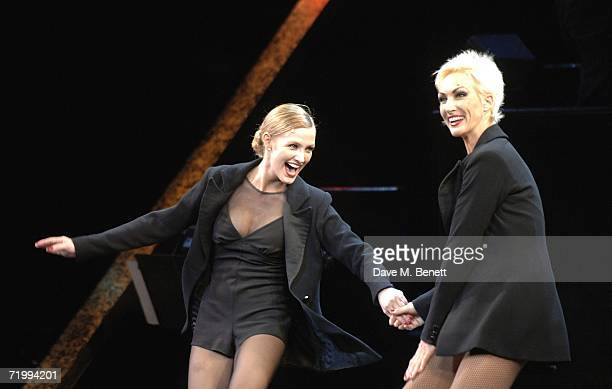 AmraFaye Wright and Ashlee Simpson perform on stage as Ashlee Simpson makes her British stage debut playing Roxie Hart in longrunning musical Chicago...
