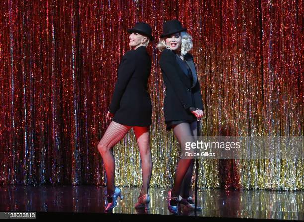 AmraFaye Wright as Velma Kelly and Christie Brinkley as Roxie Hart during the curtain call as Christie Brinkley returns to the hit musical Chicago on...