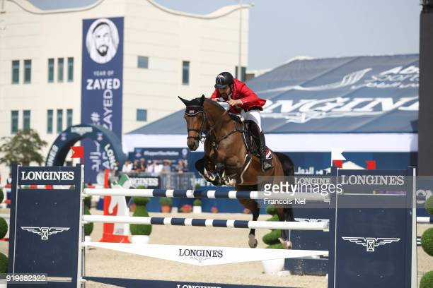 Amre Hamcho of Syria rides Lady Pilox during The President of the UAE Show Jumping Cup at Al Forsan on February 17 2018 in Abu Dhabi United Arab...