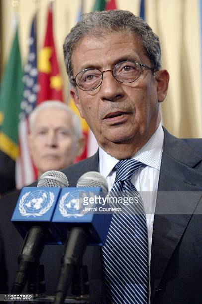 Amre Moussa, Secretary-General of the League of Arab States briefs Journalist following the August 8, 2006 UN Security Council Meeting on the...