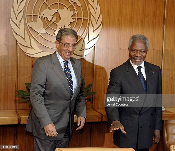 HE Amre Moussa SecretaryGeneral of the League of Arab States with United Nations Secretary General Kofi Annan
