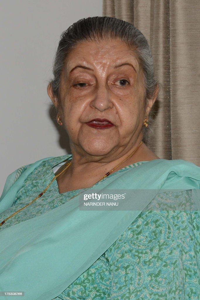 Amrit Kaur the daughter of the late Maharaja of Faridkot Harinder Singh Brar addresses media representatives at her residence in Chandigarh on August.