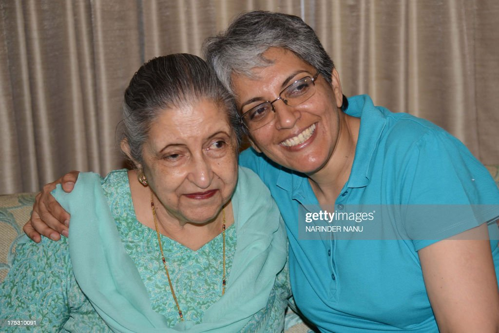 Amrit Kaur the daughter of the late Maharaja of Faridkot Harinder Singh Brar poses with her daughter Gurveen at her residence in Chandigarh on August.