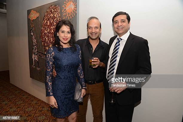 Amrita and Rahul Raichand during a prechristmas cocktail reception party on December 17 2013 in Mumbai India