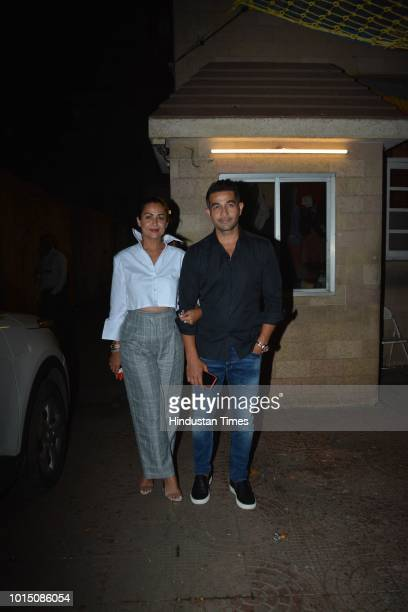 Amrita Arora Ladak along with her husband Shakeel Ladak arrive for a family gettogether at home her mother Joyce Polycarp in Bandra on August 8 2018...