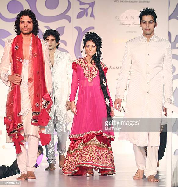 Amrita Rao walks the ramp during the Bridal fashion week in Mumbai on November 2 2010