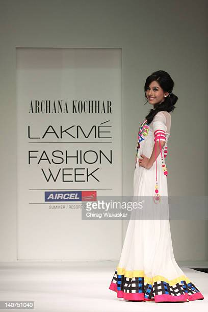 Amrita Rao walks the runway at the Archana Kochhar show at Lakme Fashion Week Summer/Resort 2012 day 5 at the Grand Hyatt on March 6 2012 in Mumbai...