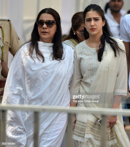 Amrita Singh and Sara Ali Khan arrives at Celebration Sports Club to pay last respects to Sridevi in Mumbai