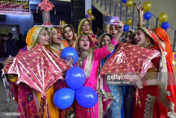 Amritsar, India January 13, 2019: Students of Shahzada Nand College during Lohri celebrations, in Amritsar, Punjab, India on Monday, January 13, 2019.