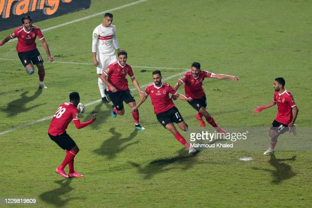 Amro Elsulia of Al Ahly celebrates a goal during CAF Champions League Final between Zamalek and Al Ahly at Cairo stadium on November 27, 2020 in...