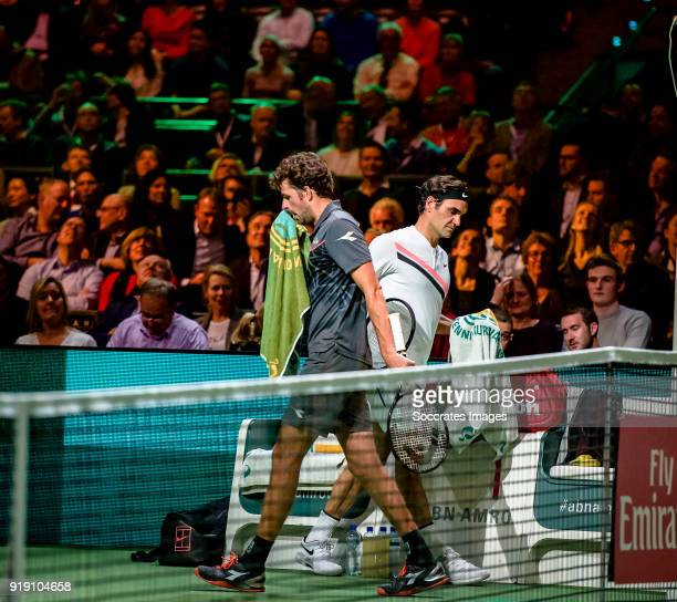 Amro WTT Roger Federer Robin Haase during the ABN Amro World Tennis Tournament at the Rotterdam Ahoy on February 16 2018 in Rotterdam Netherlands