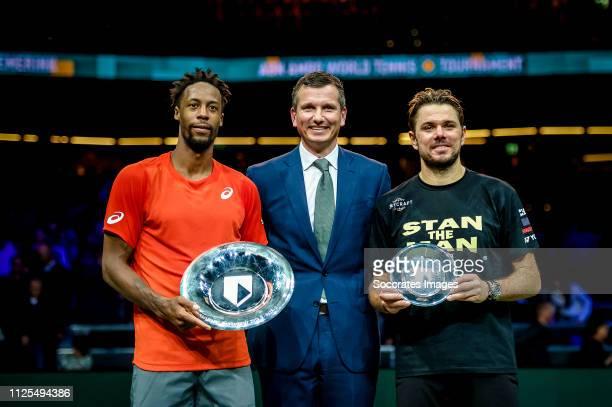 Amro WTT Stan WAWRINKA, Richard Krajicek, Gaël MONFILS during the ABN AMRO World Tennis Tournament at the Ahoy Rotterdam on February 17, 2019 in...