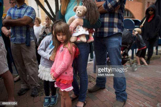 Amsi Sanchez attends a counter protest rally organized by the NAACP in response of a planned Klu Klux Klan rally to be held nearby May 20 2017 in...