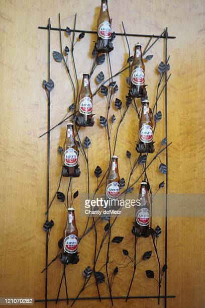 Amstel Light beers mounted on the wall in the beer garden