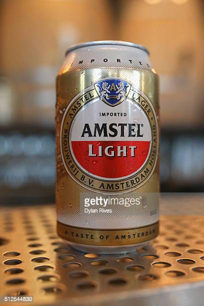 Amstel Light Lager Beer on display at the Grilled Cheese Happy Hour Hosted By Laura Werlin And Ms Cheezious during 2016 Food Network Cooking Channel...