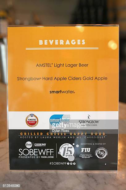 Amstel Light Lager Beer Strongbow Hard Apple Cider and Smartwater on display at the Grilled Cheese Happy Hour Hosted By Laura Werlin And Ms Cheezious...
