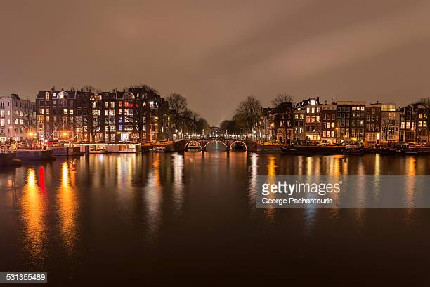 Amstel river at night