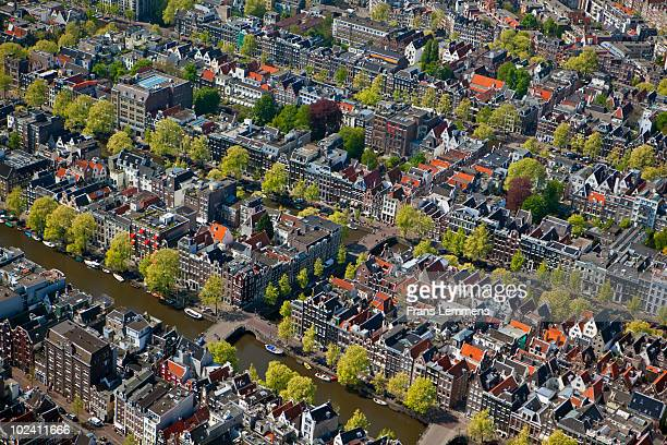Amsterdam, Aerial view of canals