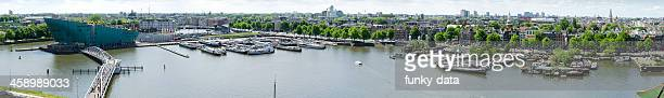 amsterdam aerial view panorama - nemo museum stock pictures, royalty-free photos & images