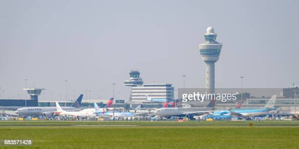 De internationale hub Amsterdam Airport Schiphol (AMS) in Nederland