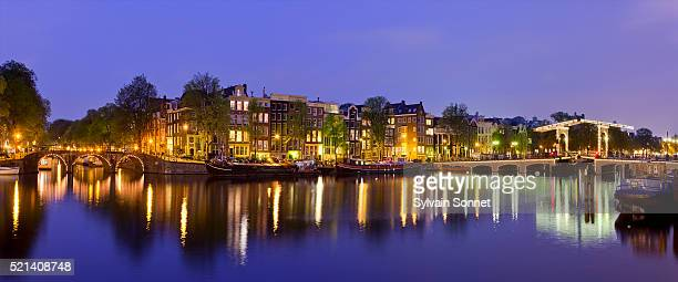 Amsterdam, Amstel Canal and Magere Brug at Dusk