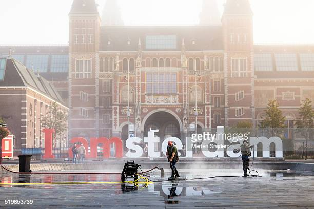 i amsterdam at rijksmuseum in mist - merten snijders stock pictures, royalty-free photos & images