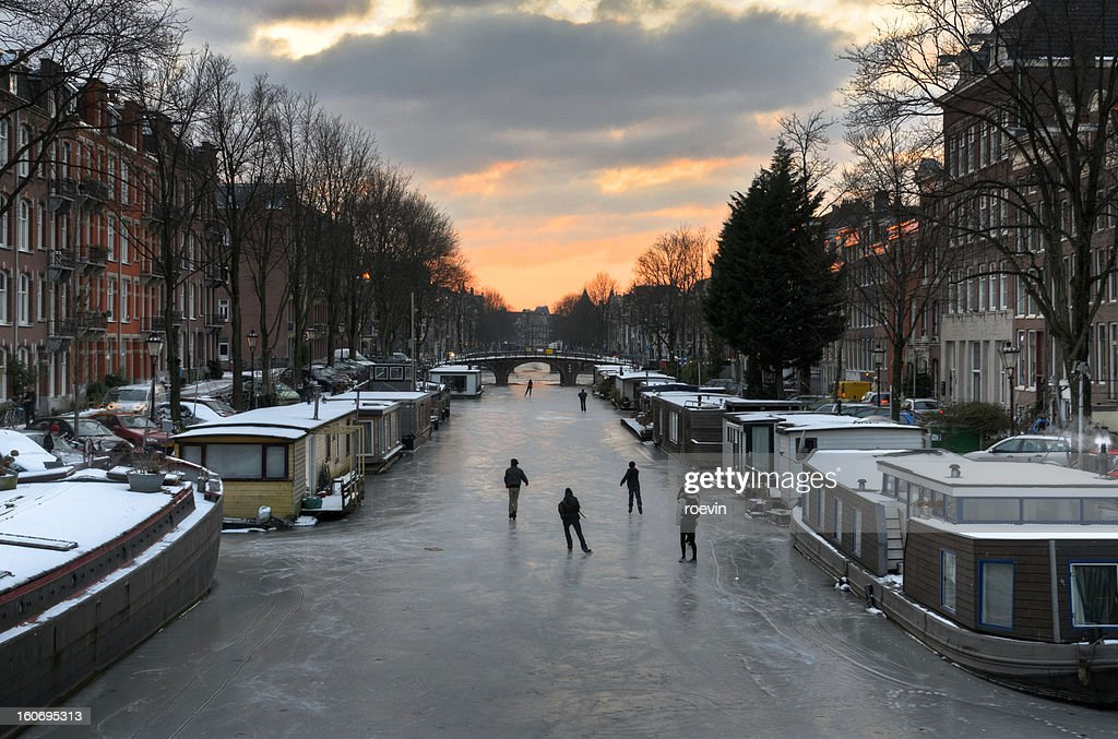 Amsterdam Canal Ice Skating : Stock Photo