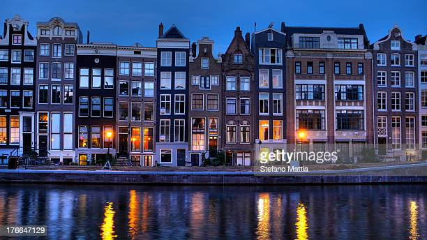 Amsterdam canal, reflection, night, blue, 2008