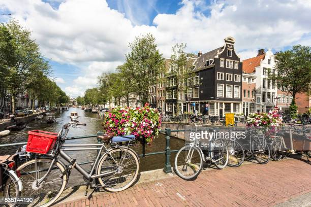 Amsterdam canals and bicycle on a sunny summer day