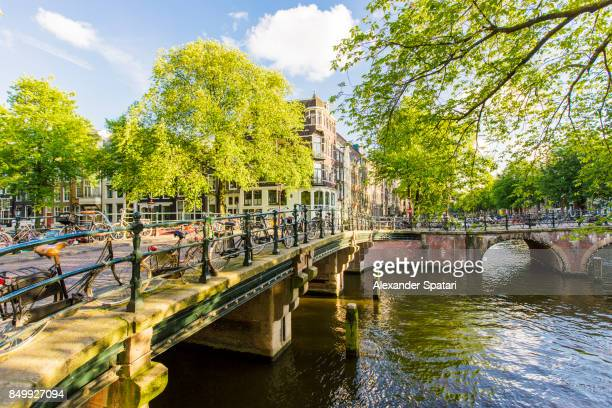 Amsterdam canals on a bright sunny day, Netherlands