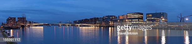 Amsterdam city Java-eiland skyline at night, panorama