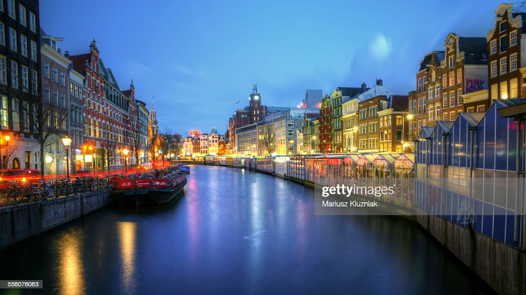 Amsterdam flower market canal at night : Stock Photo
