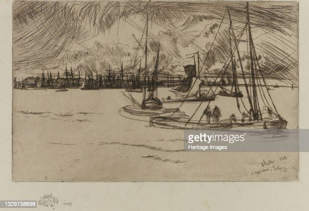Amsterdam, from the Tolhuis, 1863. Artist James Abbott McNeill Whistler.
